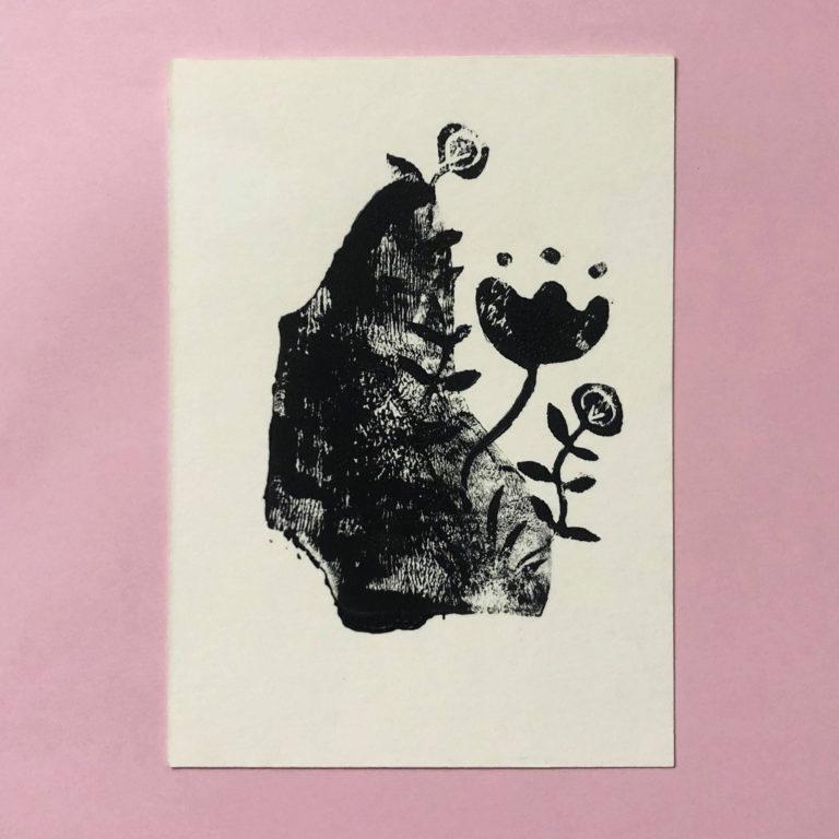 Carte de voeux fleur en gravure sur Lyon
