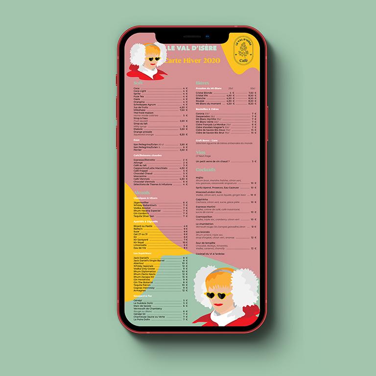 design graphique carte digitale restaurant