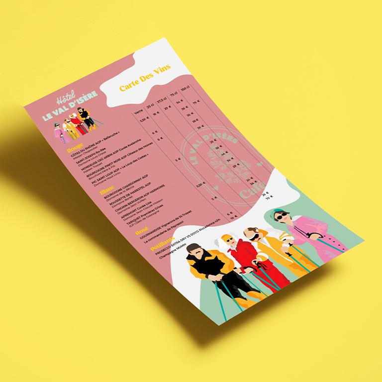 design graphique menu vin Le val d'isère