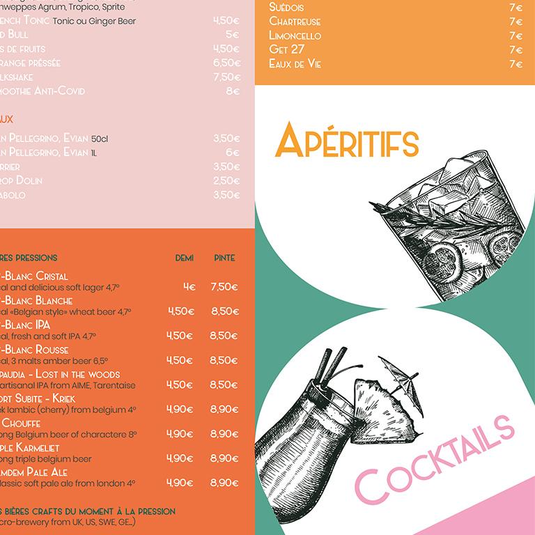 design graphique du menu du restaurant Le Garage