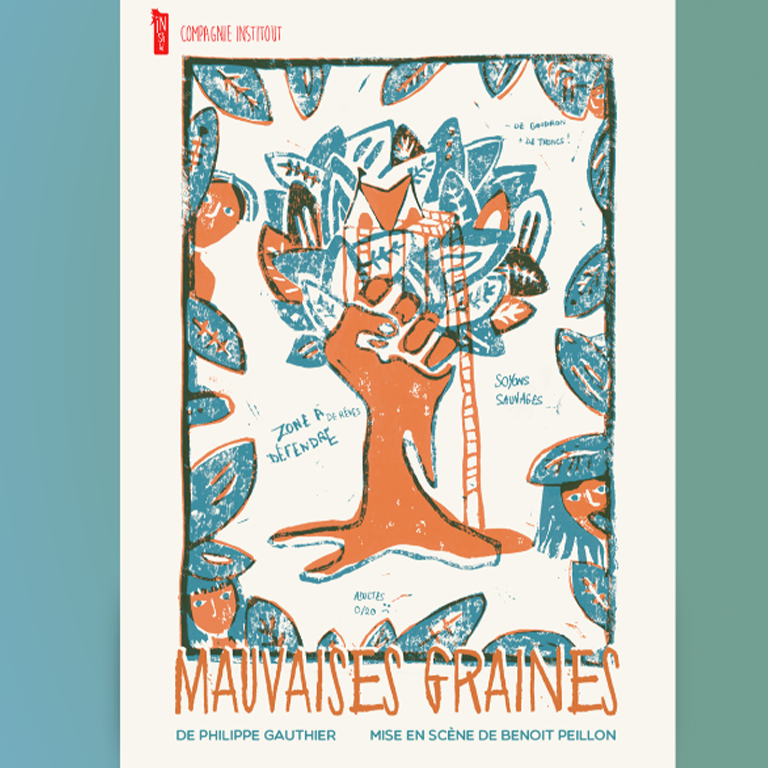 Affiche spectacle theatre linogravure